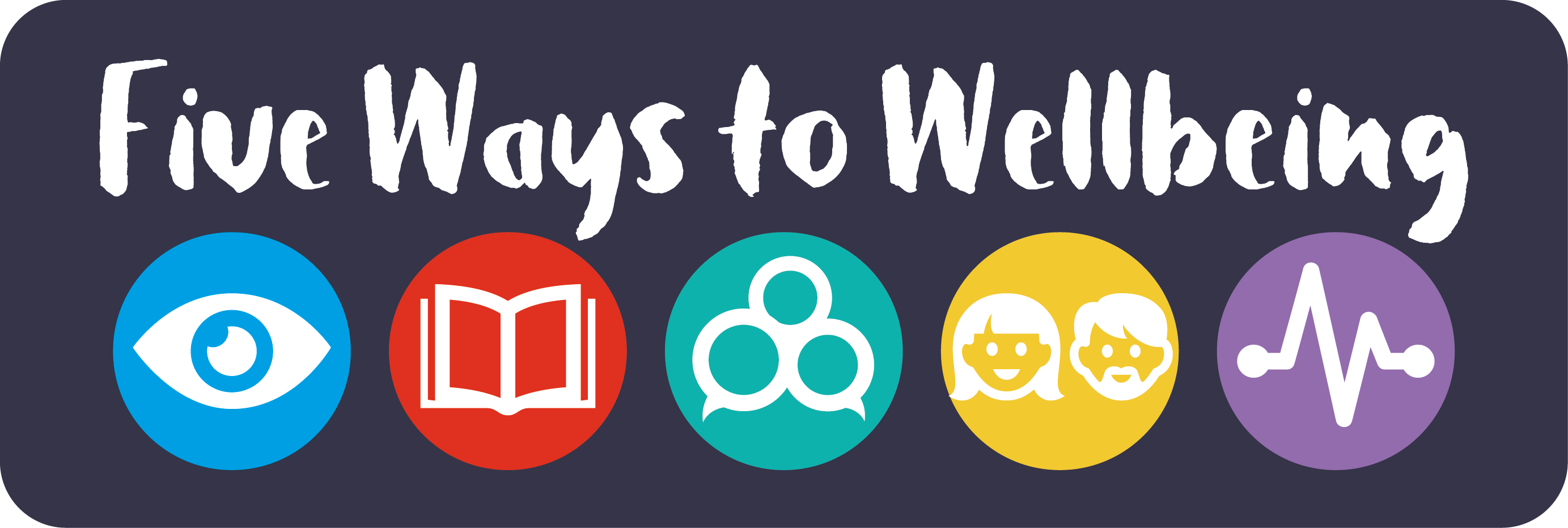 Five Ways to Wellbeing logo and link to webpage