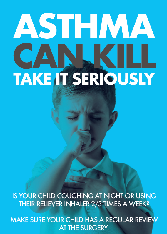 Asthma can kill: take it seriously. boy coughing.